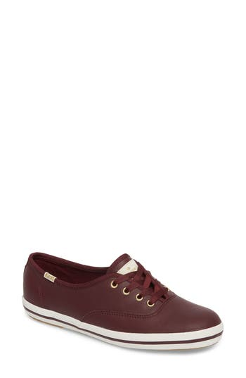 Keds For Kate Spade New York Leather Sneaker, Burgundy
