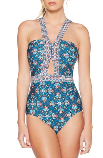 Laundry By Shelli Segal Butterfly Twin Cutout One-Piece Swimsuit, Blue/green