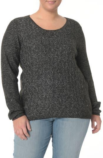 Plus Size Women's Nydj Sequin Scoop Neck Sweater, Size 2X - Black