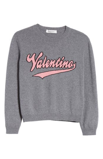 Women's Valentino Wool & Cashmere Logo Sweater, Size X-Small - Grey