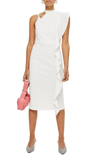 Women's Topshop Asymmetrical Ruffle Midi Dress, Size 2 US (fits like 0) - Ivory
