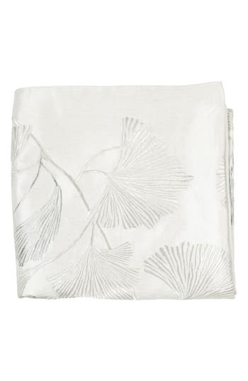 Michael Aram Ginkgo Leaf Embroidered Throw, Size One Size - Ivory