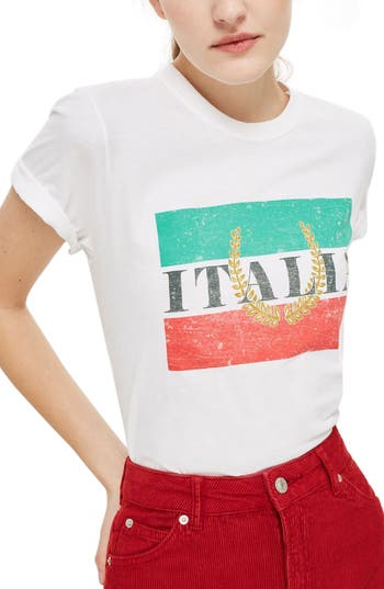 Women's Topshop By Tee & Cake Italia Graphic Tee, Size Large - White