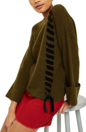 Women's Topshop Velvet Ribbon Cuffed Sweater, Size 2 US (fits like 0) - Green