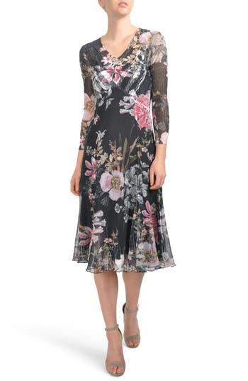 Komarov Floral Chiffon A-Line Dress, Black