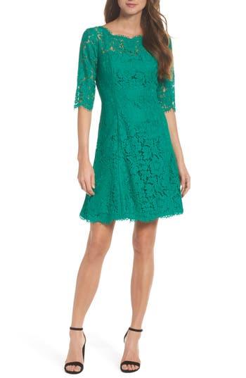 Women's Eliza J Lace Fit & Flare Dress, Size 0 - Green