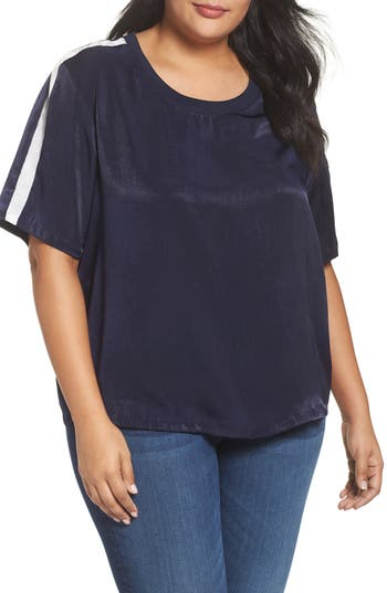 Women's Soprano Stripe Shine Top, Size 1X - Blue