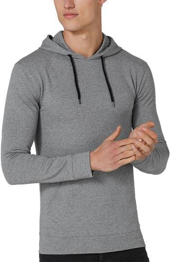 Topman Muscle Fit Hoodie, Grey