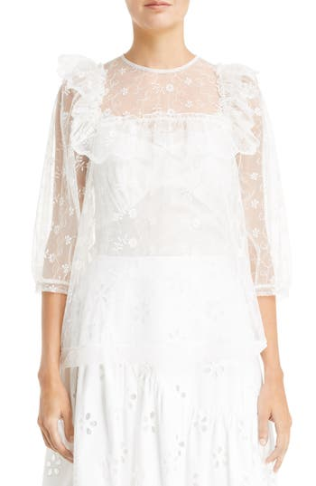 Women's Simone Rocha Frilled Bib Embroidered Tulle Top, Size 2 US / 6 UK - Ivory