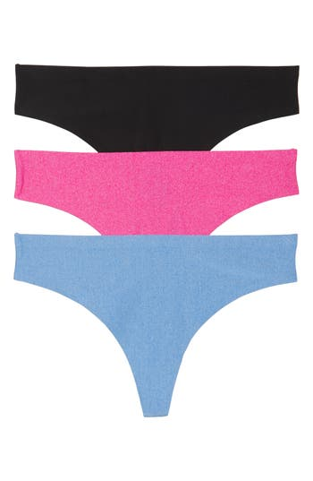 Women's Honeydew Intimates 3-Pack Microfiber Thong, Size Large - Pink