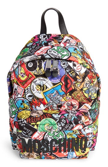 Moschino Patch Print Quilted Nylon Backpack - Black