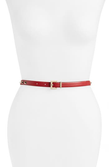Women's Valentino Garavani Rockstud Leather Belt, Size 80 - 0Ro Rosso V