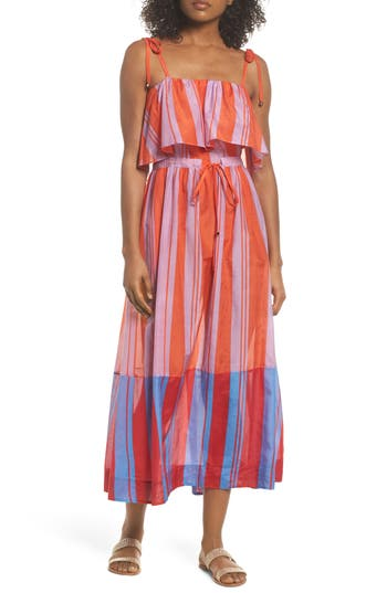 Diane Von Furstenberg Ruffle Cover-Up Maxi Dress, Orange