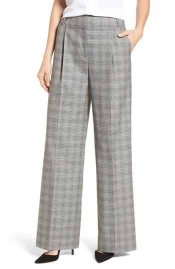 Womens Emerson Rose Check Plaid Wide Leg Suit Pants Size 0  Grey