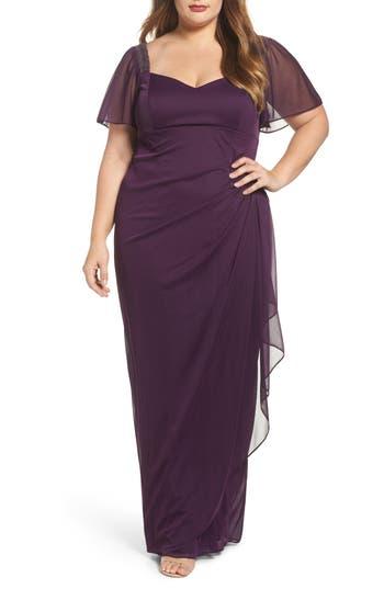 Plus Size Xscape Embellished Side Pleat Gown
