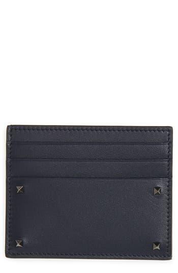 Men's Valentino Garavani Mini Rock Stud Leather Card Case - Blue