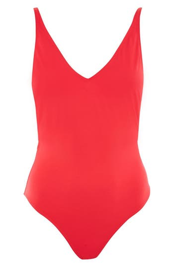 Topshop Pamela One-Piece Swimsuit, US (fits like 0) - Red