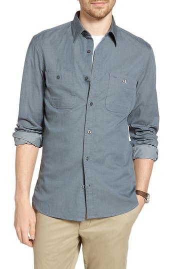 Big & Tall 1901 Workwear Trim Fit Stretch Denim Sport Shirt, Grey