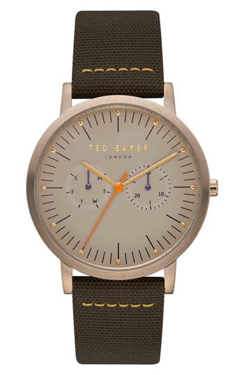 Ted Baker London Brit Multifunction Mixed Media Strap Watch, 40Mm