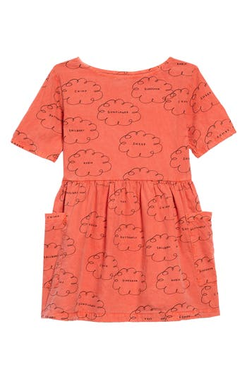 Girl's Bobo Choses Clouds Organic Cotton Dress, Size 4-5Y - Red