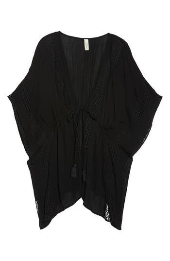 Women's Elan Crochet Cover-Up Tunic, Size Small - Black