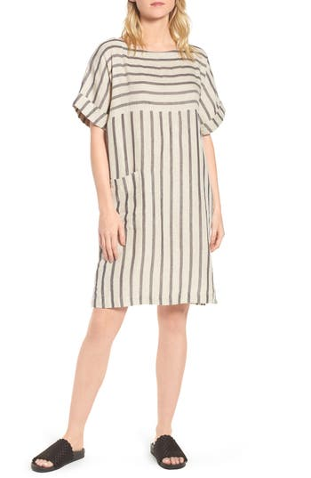 Eileen Fisher Stripe Linen & Cotton Shift Dress, Beige
