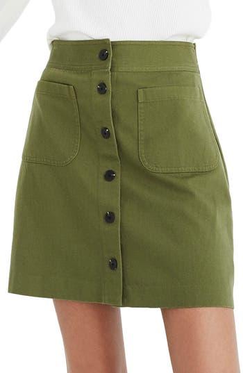 Madewell Station Button Front Miniskirt, Green