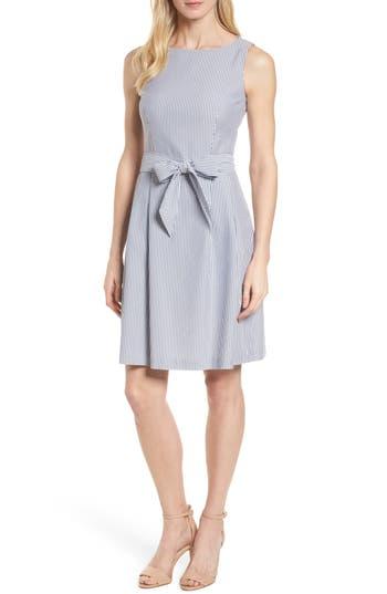 ANNE KLEIN SEERSUCKER FIT & FLARE DRESS
