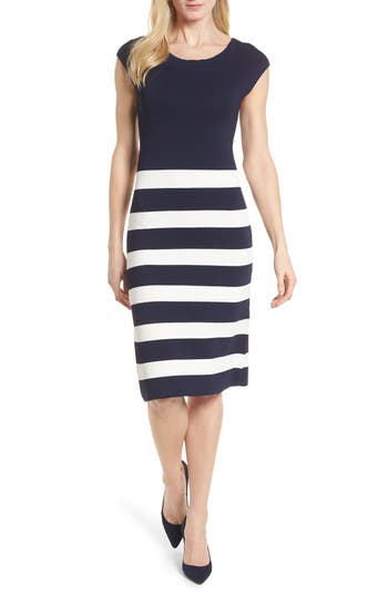 Women's Anne Klein Bow Back Striped Sweater Dress, Size Small - Blue