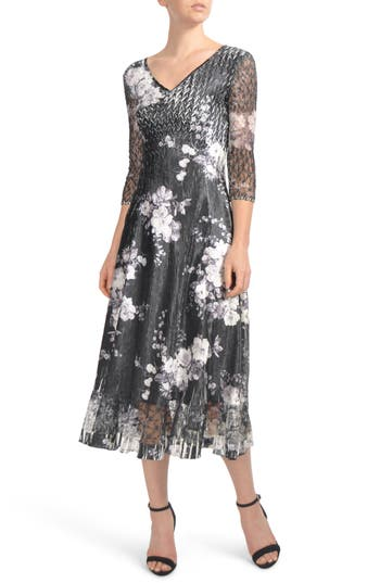 Komarov Floral Charmeuse & Lace Tea Length Dress, Black