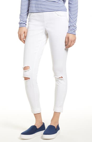 Hue Ripped Curvy Denim Skimmer Leggings, White