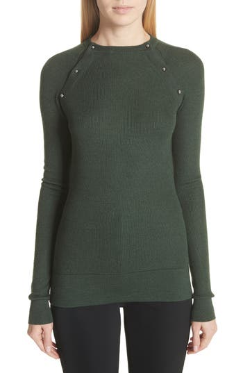 Jason Wu Button Seam Silk & Merino Wool Sweater, Green