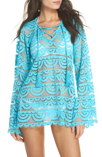 Pilyq Noah Lace Cover-Up Tunic, Blue