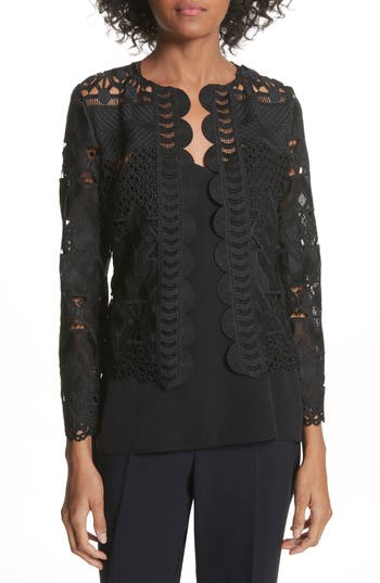 Women's Ted Baker London Crop Lace Jacket, Size 0 - Black