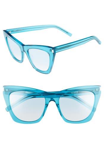 Saint Laurent Kate 55Mm Cat Eye Sunglasses - Turquoise