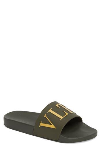 Men's Valentino Slide Sandal, Size 6US / 39EU - Green