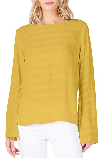 Michael Stars Slit Bell Sleeve Top, Yellow