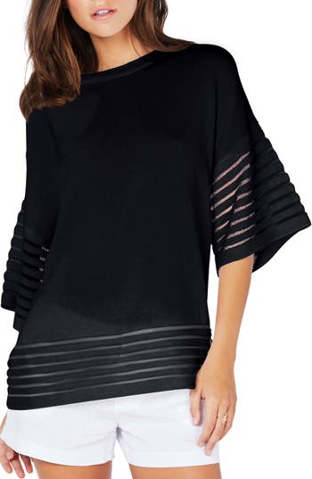 Michael Stars Shadow Stripe Pullover, Black