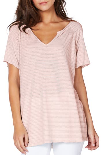 Michael Stars Split Neck Stripe Tee, Size One Size - Pink
