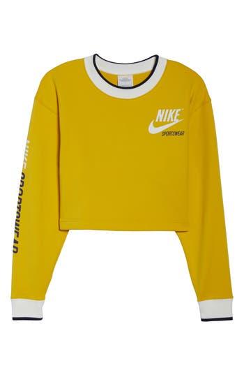 Nike Reversible Crop Sweatshirt, Yellow