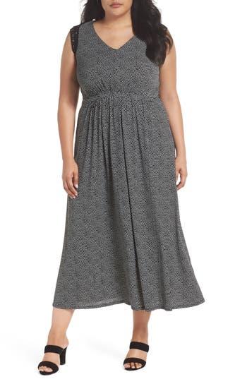 plus size women's gabby skye lace trim polka dot maxi dress, size 3x - black