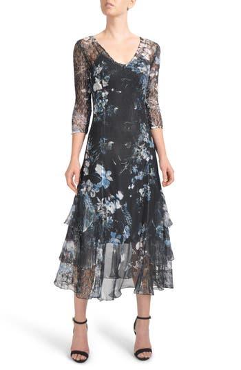 Komarov Floral Tiered Hem Chiffon Dress, Black