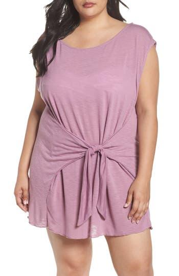 Plus Size Becca Etc. Breezy Basic Cover-Up Dress, Purple