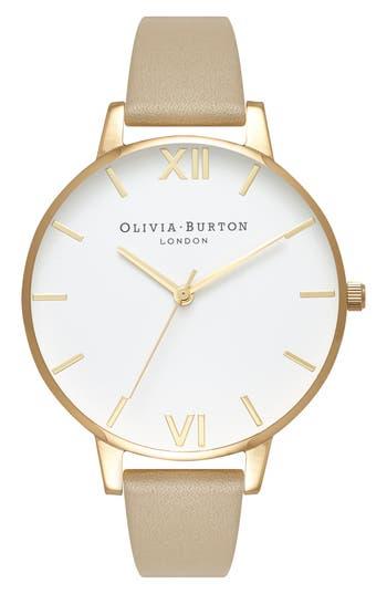 Olivia Burton Leather Strap Watch, 38mm