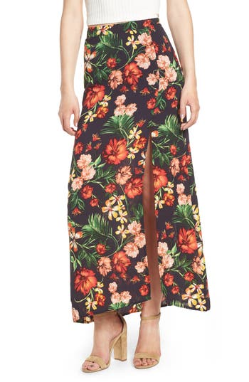 Floral Maxi Skirt, Blue