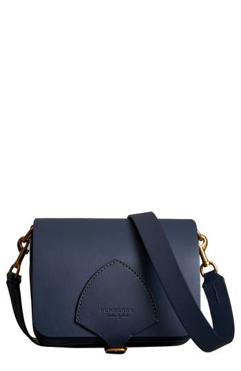 Burberry Large Square Leather Satchel - Blue