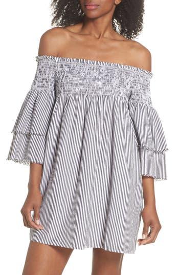 Elan Bell Sleeve Smocked Cover-Up Dress, Grey