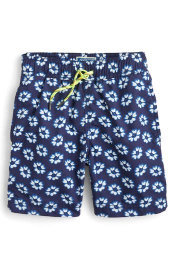 Boys Crewcuts By J.crew Blurry Flowers Swim Trunks Size 4  Blue