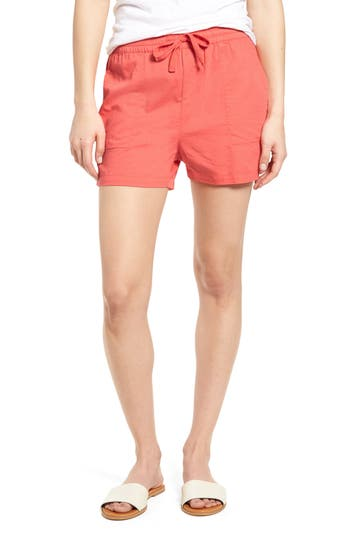 Women's Caslon Pull-On Twill Shorts, Size X-Large - Coral