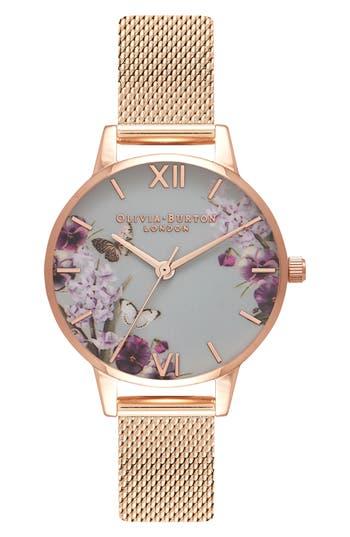 Olivia Burton Enchanted Garden Mesh Strap Watch, 30mm